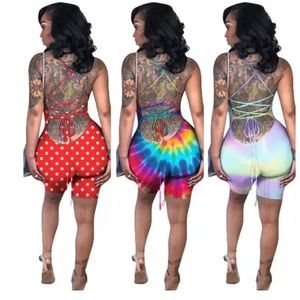 Pants - Multicolor Strappy Back Romper